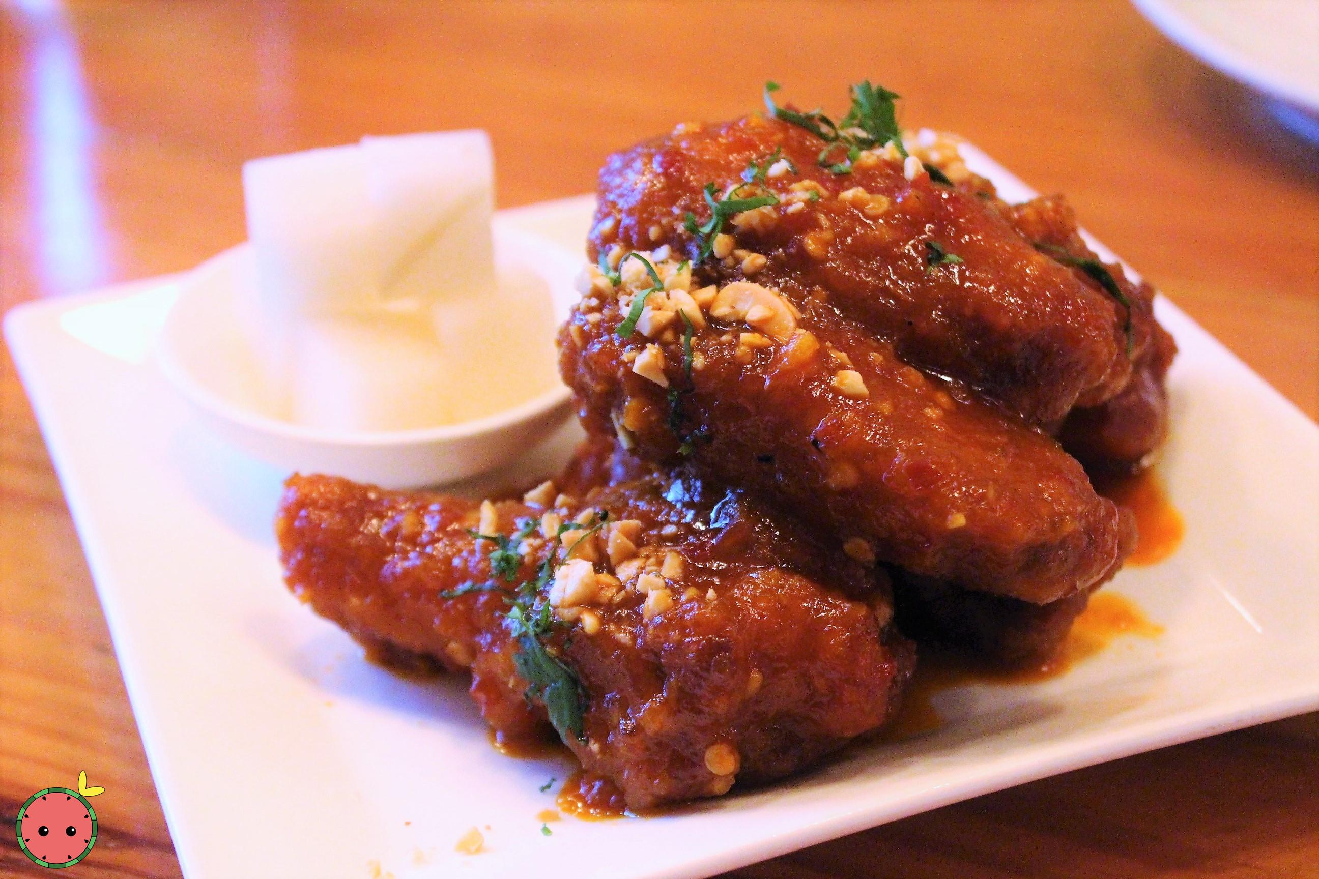 Spicy_'K.F.C.'_Korean_Fire_Chicken_Wings_-_D'artagnan_organic_chicken,_peanuts,_cilantro_&_pickled_d