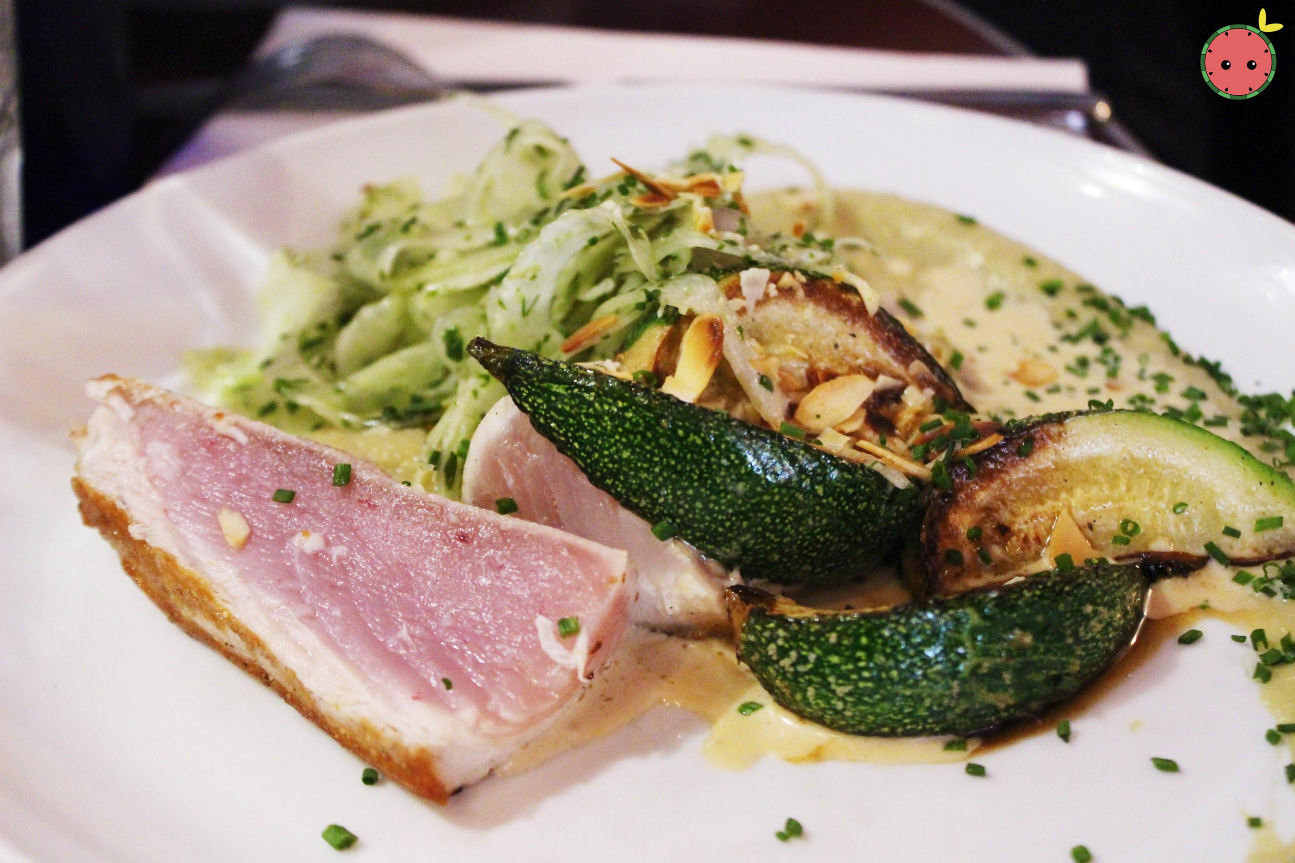 White Tuna, Puree Fennel Confit, Grilled Zucchini, Crispy Salad with Lemon & Roasted Almonds