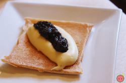 Amuse-Bouche - Japanese cracker, whipped potato cream cheese, black truffles
