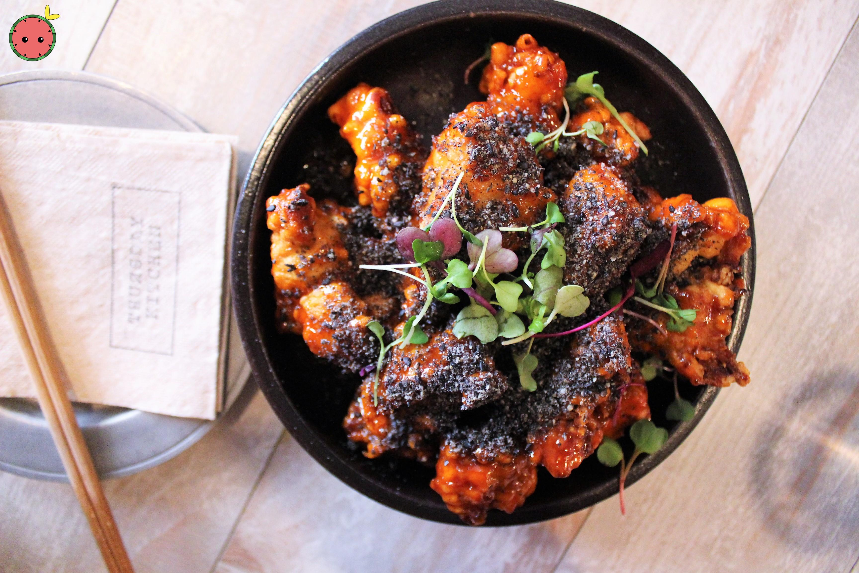 Crispy Chicken - With sweet and spicy sauce and black sesame crumbles