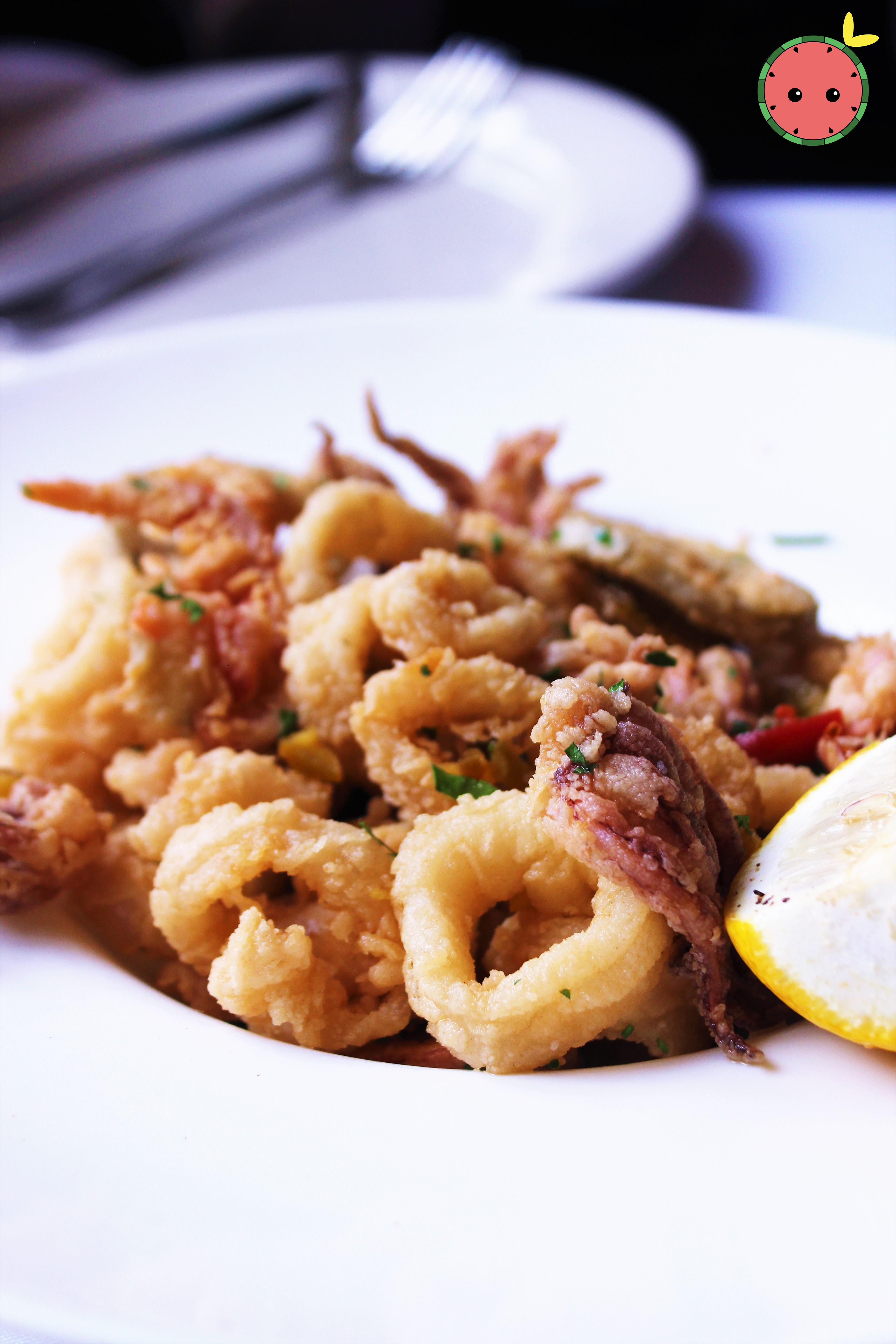 Calamari Salad with Olives, Garlic, Lemon, & Giardiniera