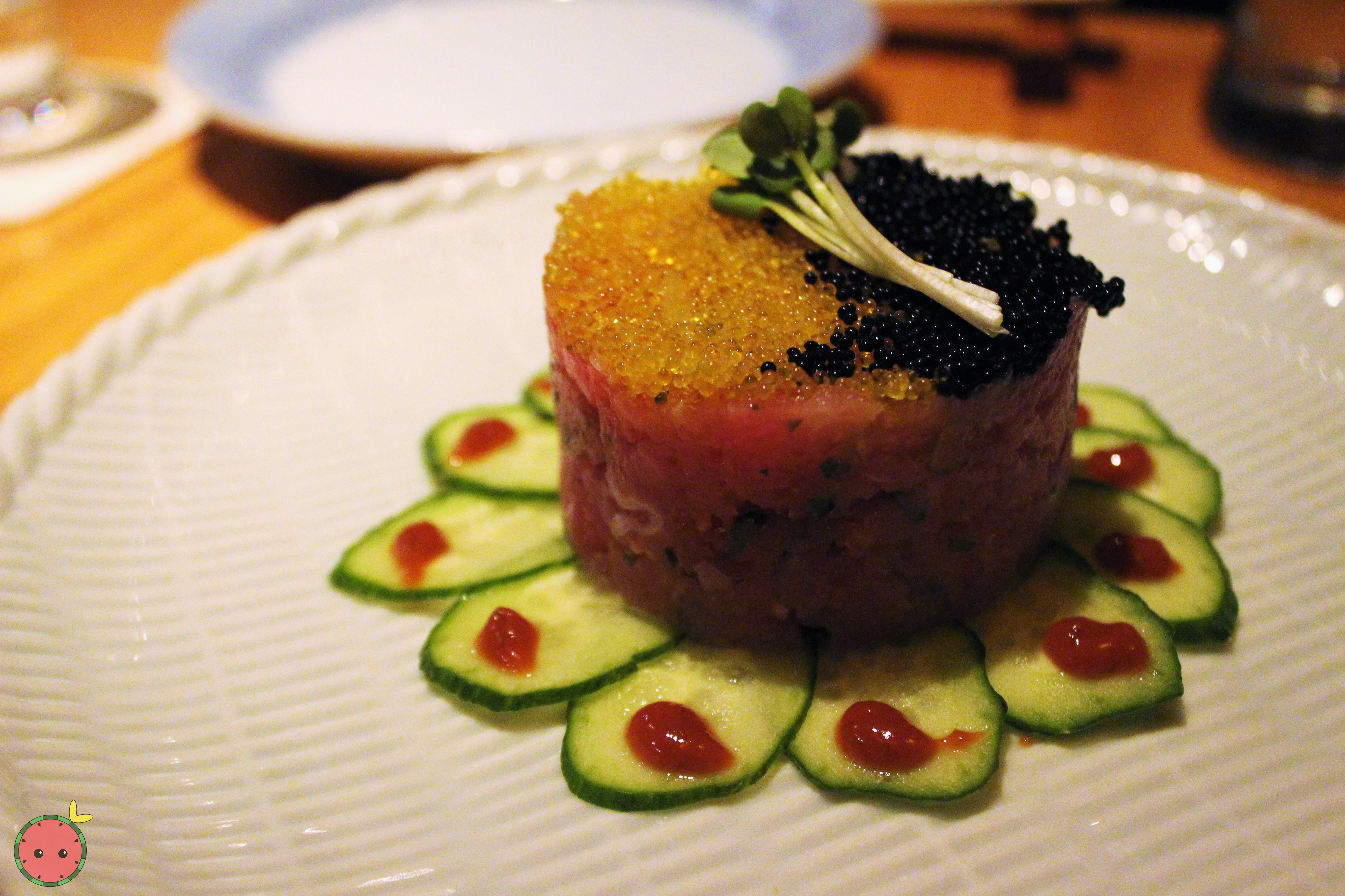 Maguro Tartar - Chopped tuna with flying fish roe and steeped in yuzu and caviar