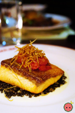 Pan-Roasted Salmon with French Lentils, Leek Soubise, Blistered Cherry Tomatoes, & Crispy Leeks
