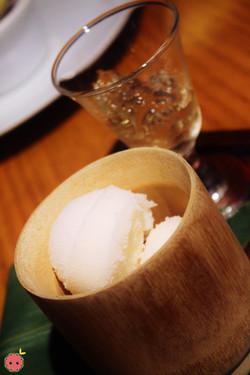 Hannya Ume Sake Sorbet served with ume sake jello