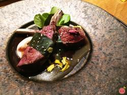 Colorado lamb chop sakura-yaki, garlic red wine reduction sauce, satoimo purée, onion purée