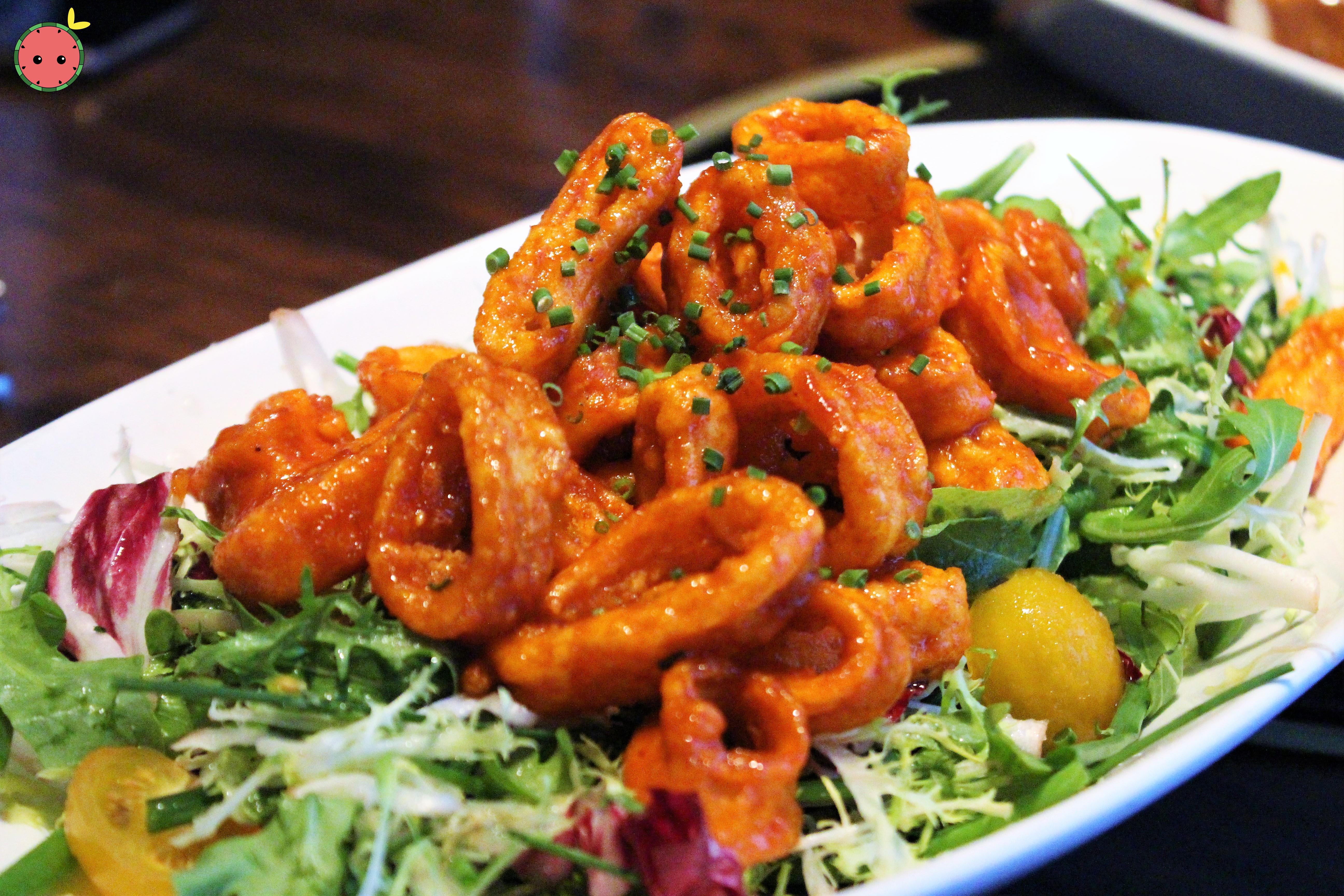 Fried Calamari Salad - gochujang, port, pear