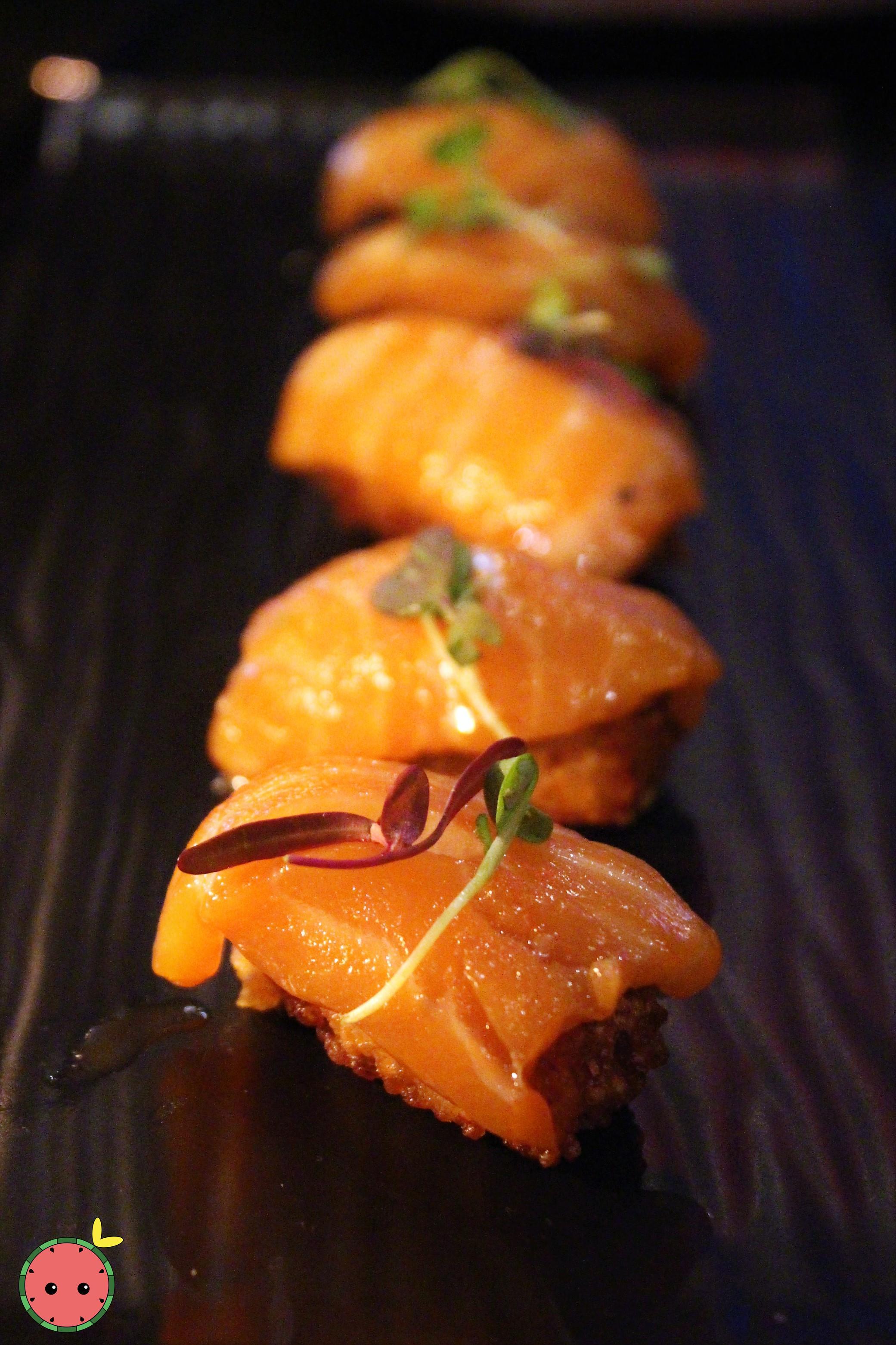 Crispy Salmon - Salmon sashimi, crispy sushi rice, chipotle aioli