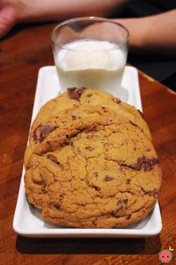 Milk & Cookies - Warm chocolate chip cookies, vanilla ice cream, and ice cold milk