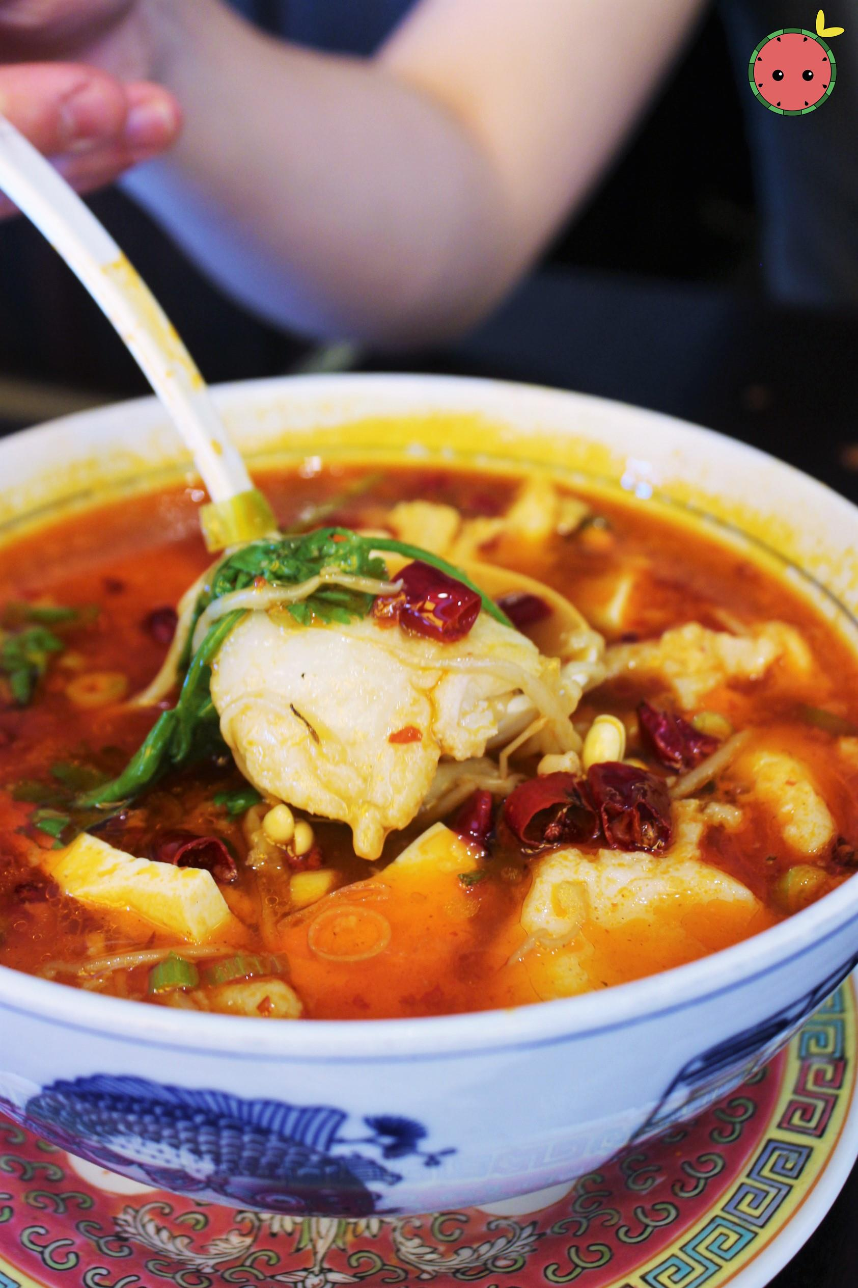 Chungking Braised Fish in Red Soup - Tilapia or fillets of sole with chili oil and peppercorn 3