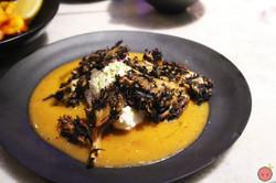 Maitake mushrooms with goat cheese, fresno pepper vinaigrette