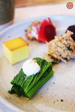 Mustard green with tofu dashi