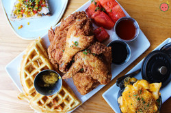 Chicken n' Watermelon n' Waffles, honey hot sauce, chilled spiced watermelon, cheddar cheese chow ch