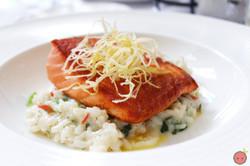 King salmon, spinach rice, crispy leeks