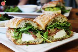 Mozzarella Farm Style Sandwich - Crushed tomatoes, arugula, prosciutto, and mint aioli