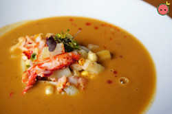 Lobster Bisque with Corn, Potatoes, Ginger, & Lobster