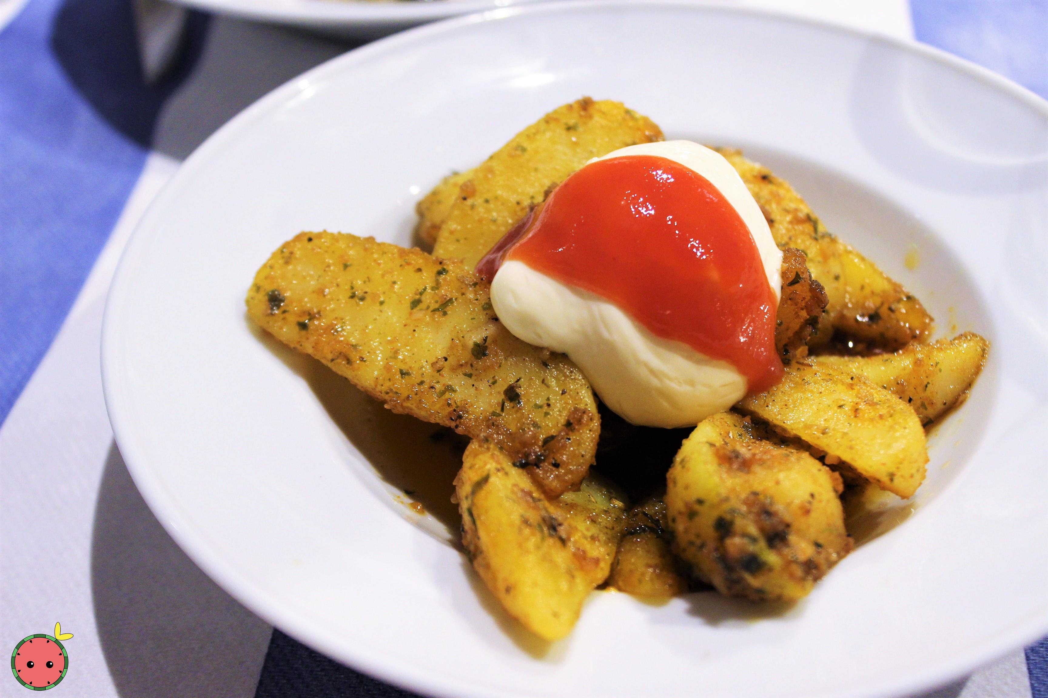 Spicy Potatoes with Mayonnaise and Salsa Brava