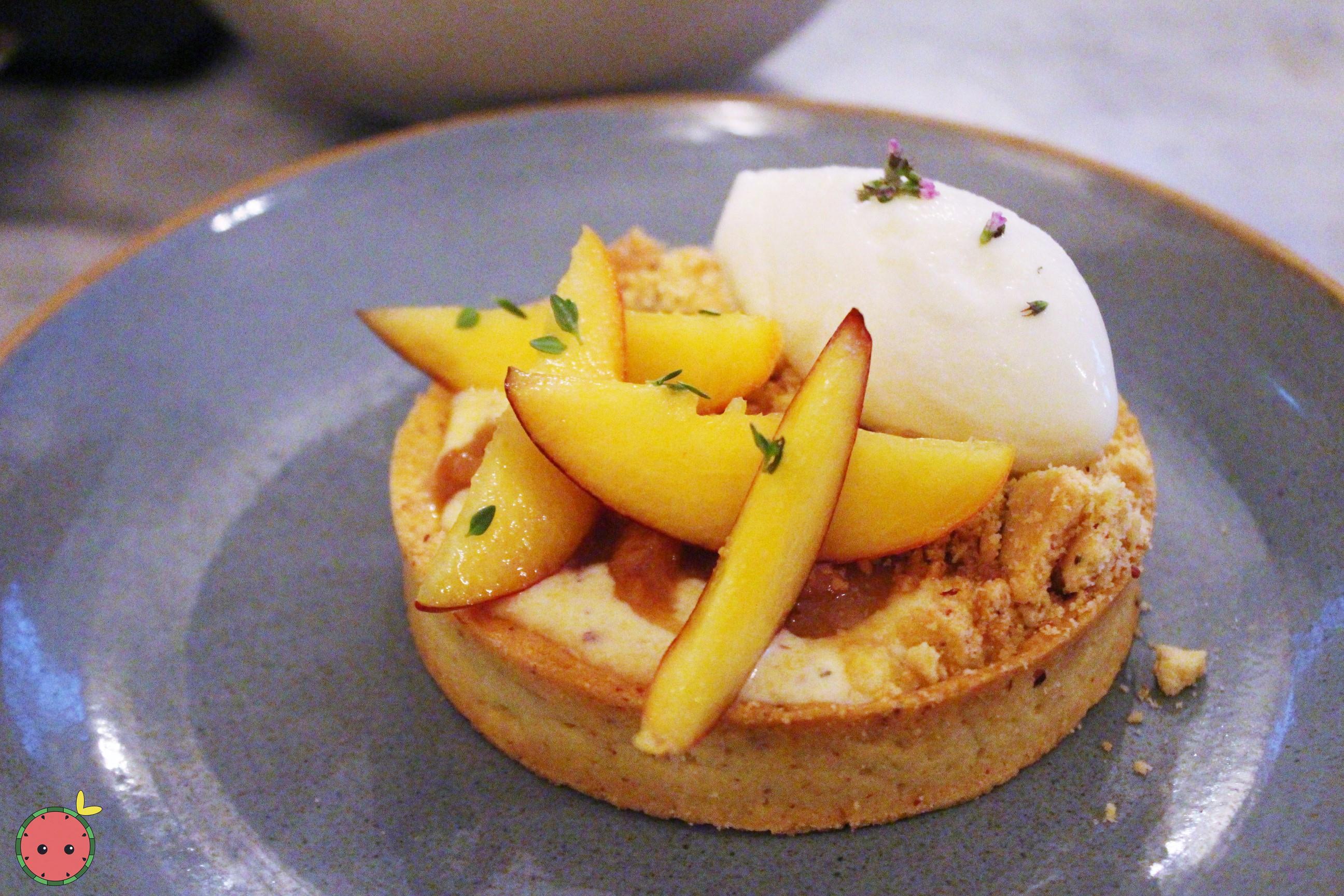 Peaches, polenta, lemon thyme ice cream