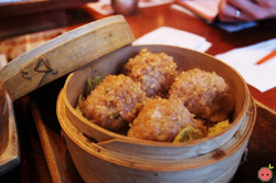 Steamed Chicken Meatballs - Homemade chicken meatball covered with Japanese sticky rice