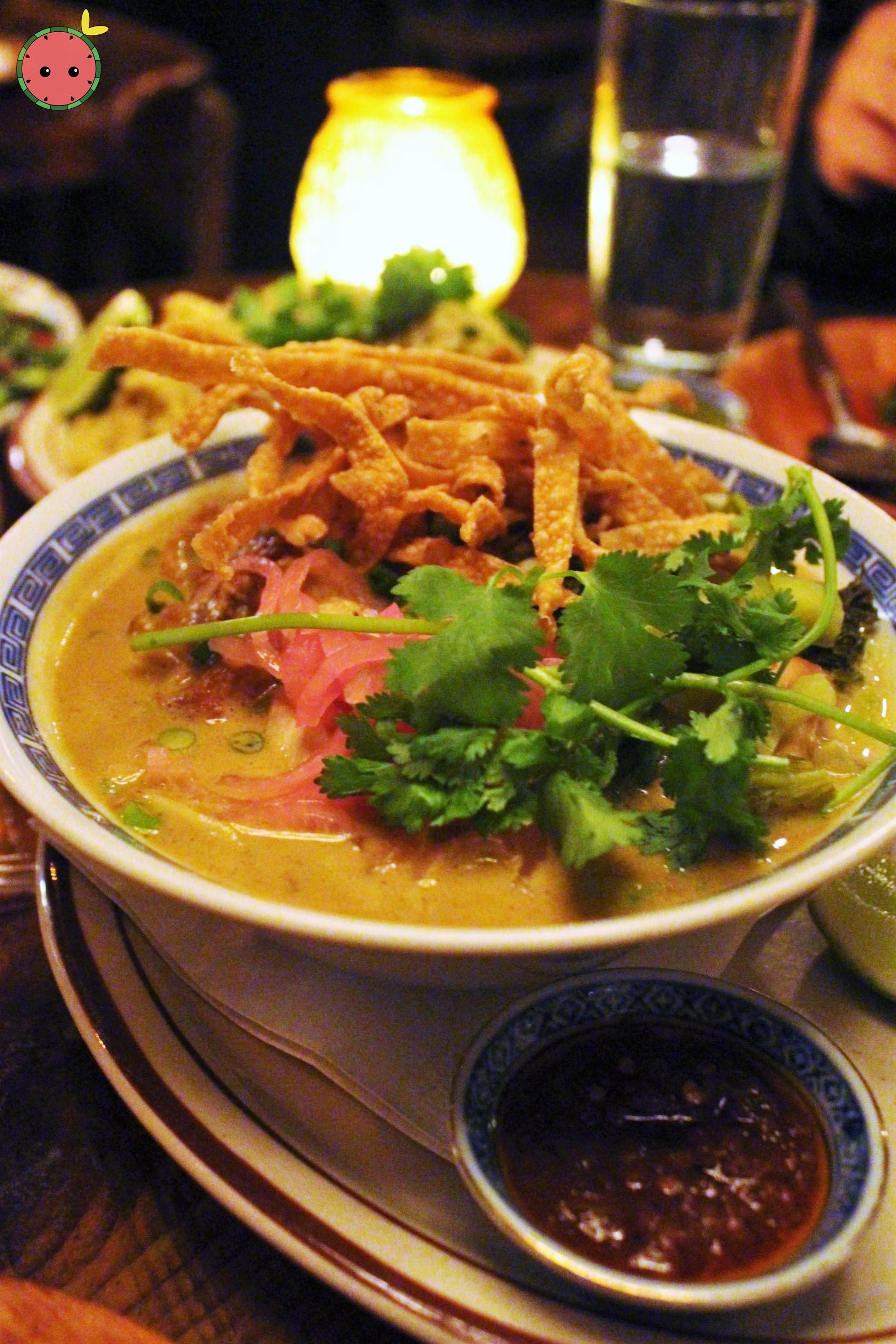 Khao Soi Kaa Gai - Northern style golden curry with homemade egg noodles, chicken leg, pickled musta