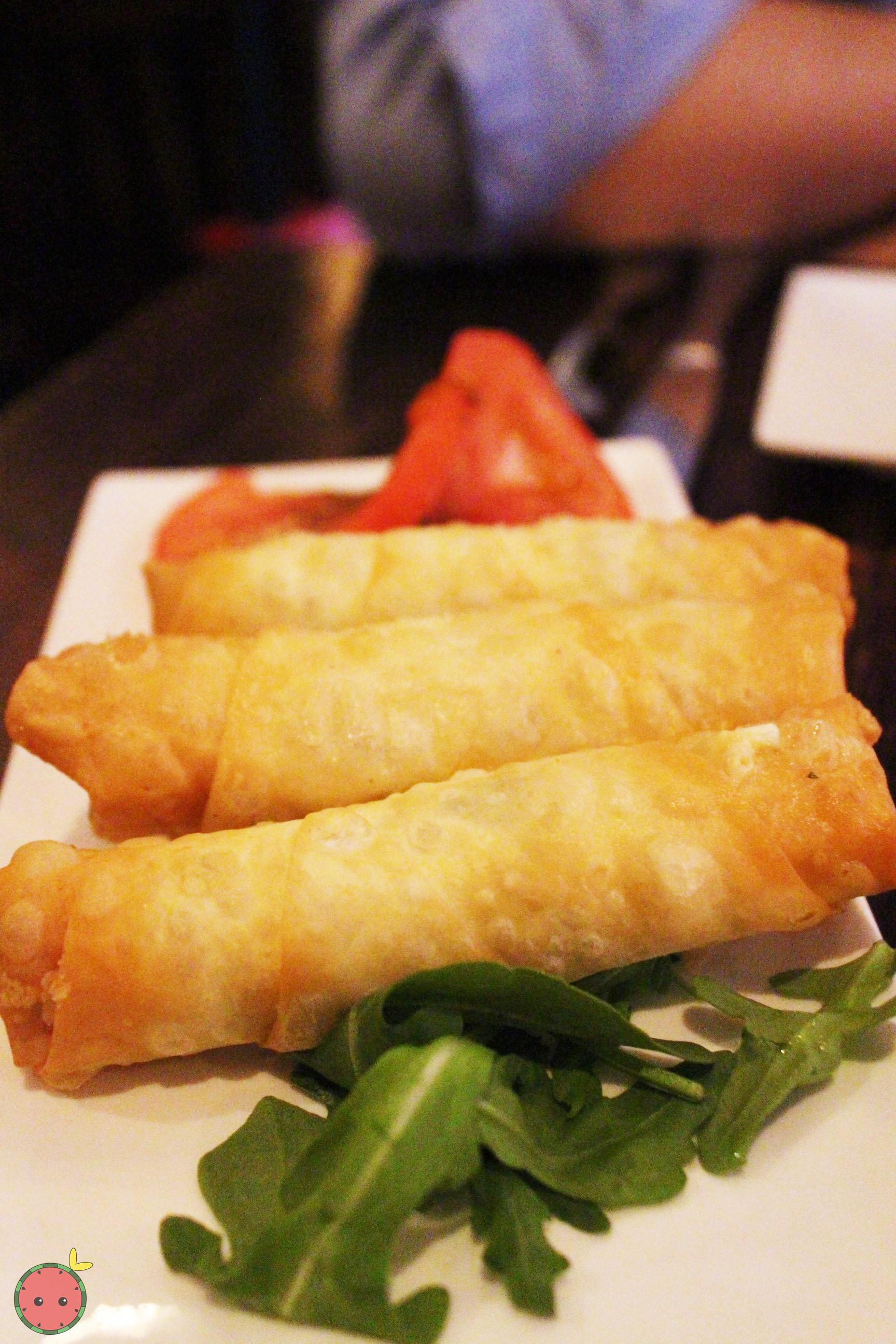Phyllo rolls stuffed with feta cheese, parsley