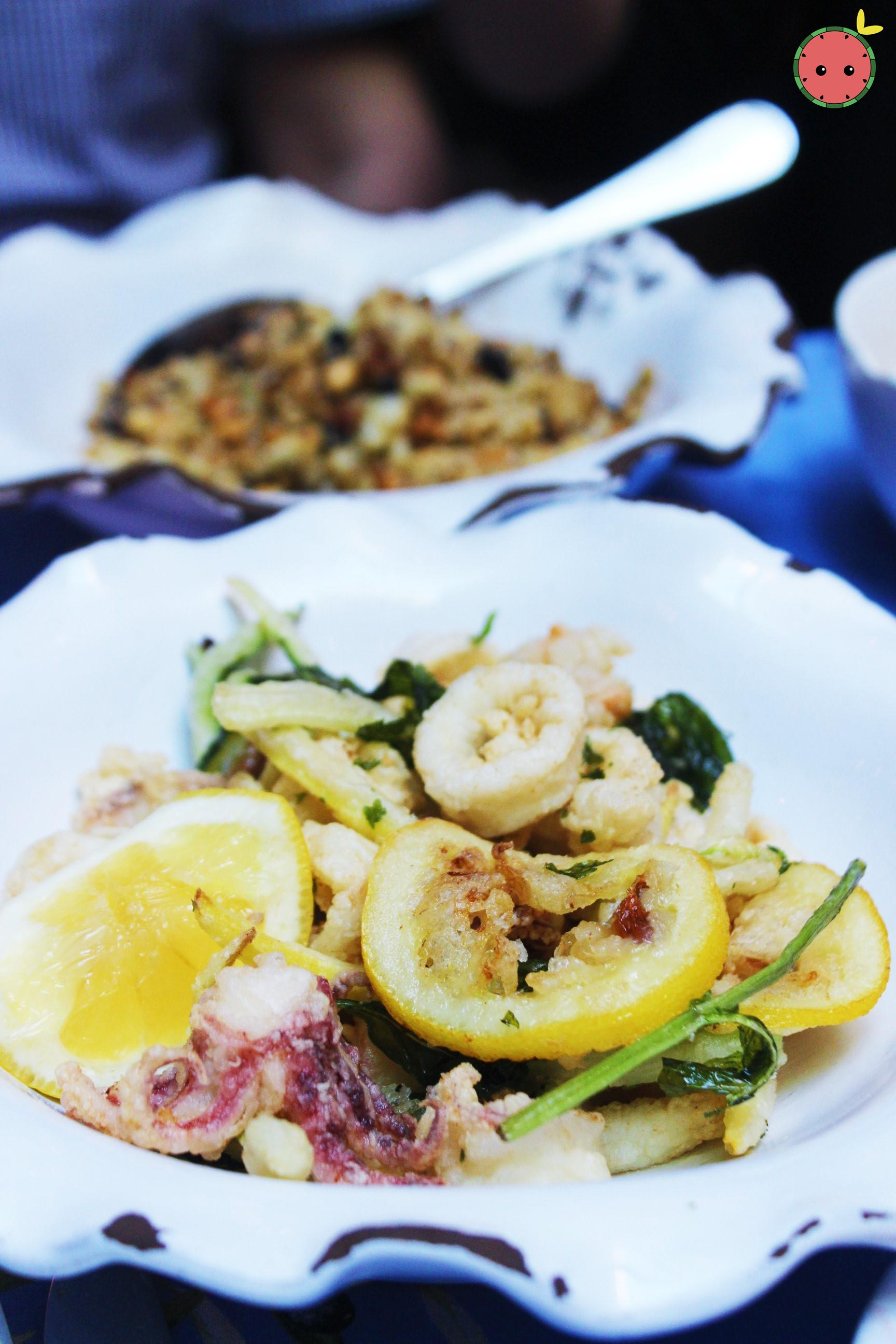 Fritto Misto - Fried calamari, rock shrimp and zucchine with lemon and mint