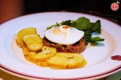 Steak Tartare with Mushroom Duxelles, Croutons & Aioli