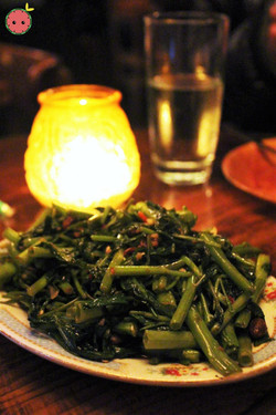 Puk Boong Fai Dang - Water spinach with garlic, chilies, and yellow soybeans