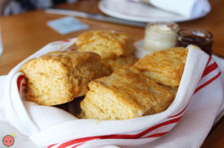Classic buttermilk biscuits with honey butter, house-made jam