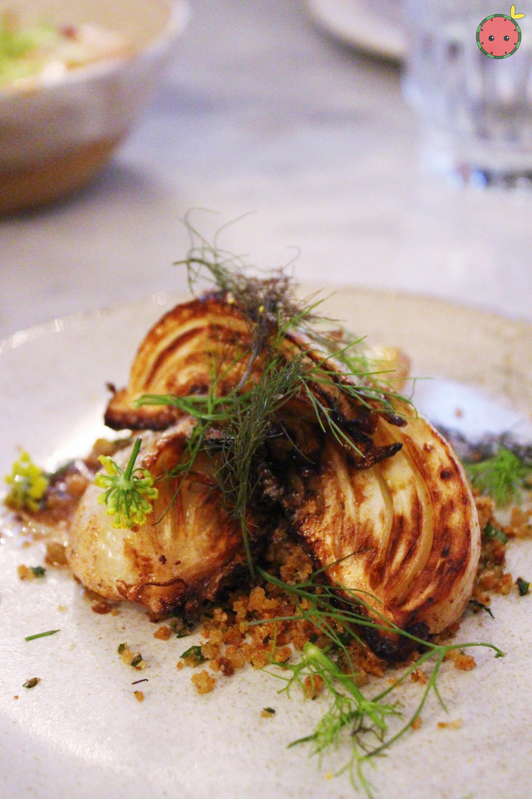 Caramelized young fennel with anchovy butter and herbed breadcrumbs