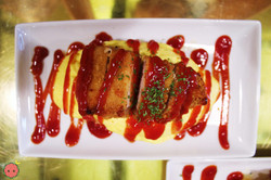 Omurice - Fluffy omelet with tomato sauce-seasoned pork rice with katsu and melted cheese 2
