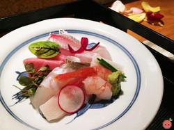 Sashimi Selection - Jumbo shrimp, toro, fluke, red snapper, Shima Aji, yellow tail