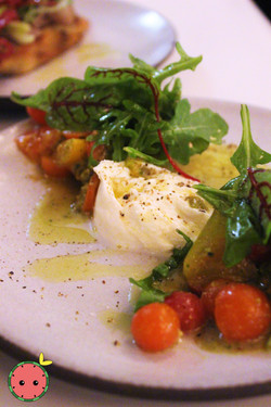Heirloom Tomato Salad with Burrata, Pist