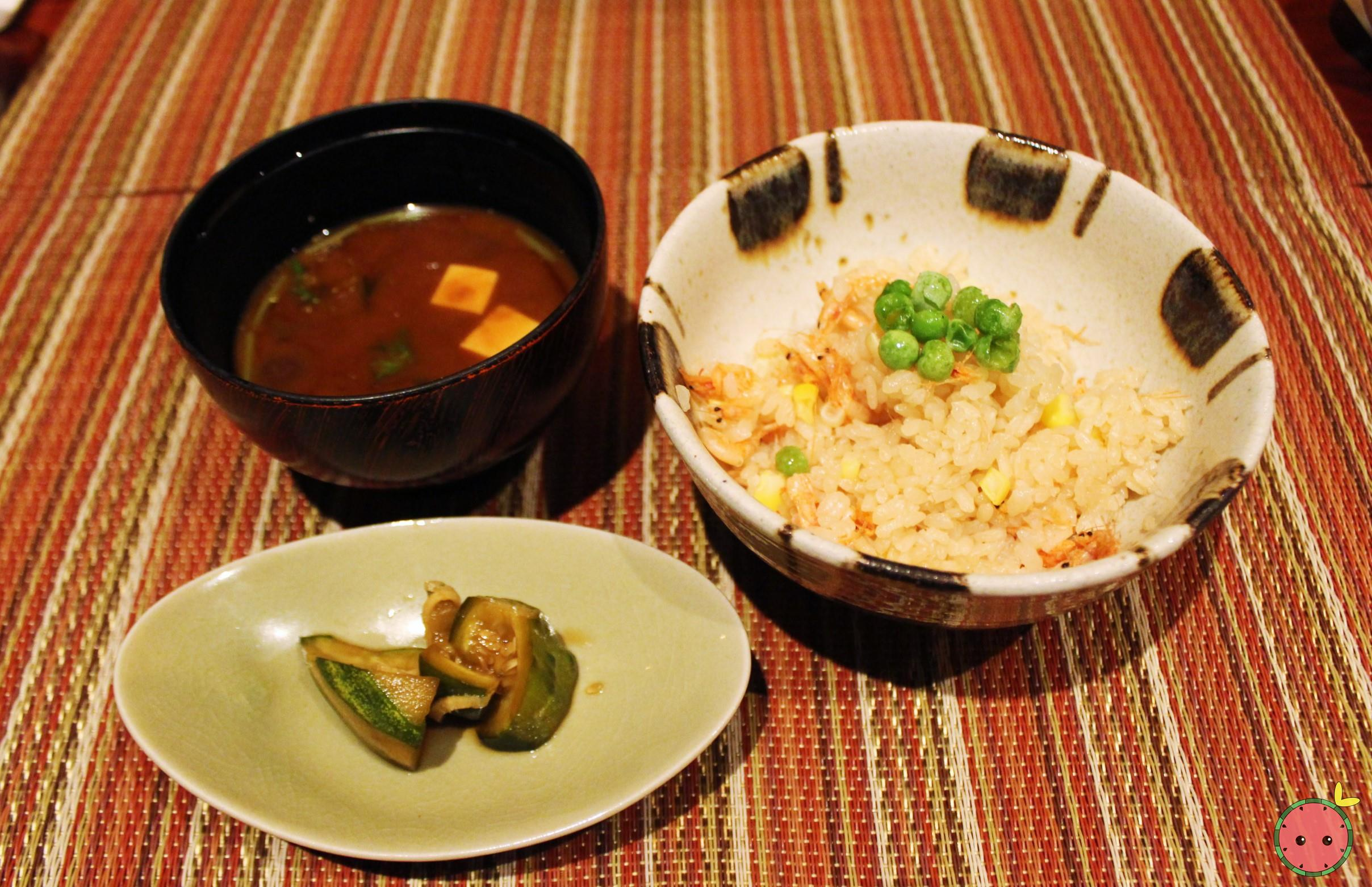 Oshokuji - Sakura shrimp and Peter corn Kamadaki rice with red miso soup and pickles