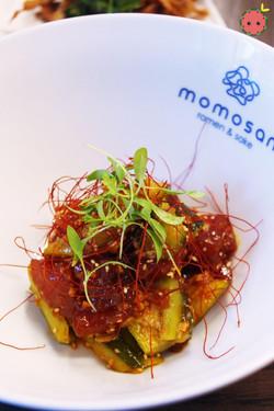 Zuke Maguro - Soy marinated tuna, tataki cucumber, taberu rayu