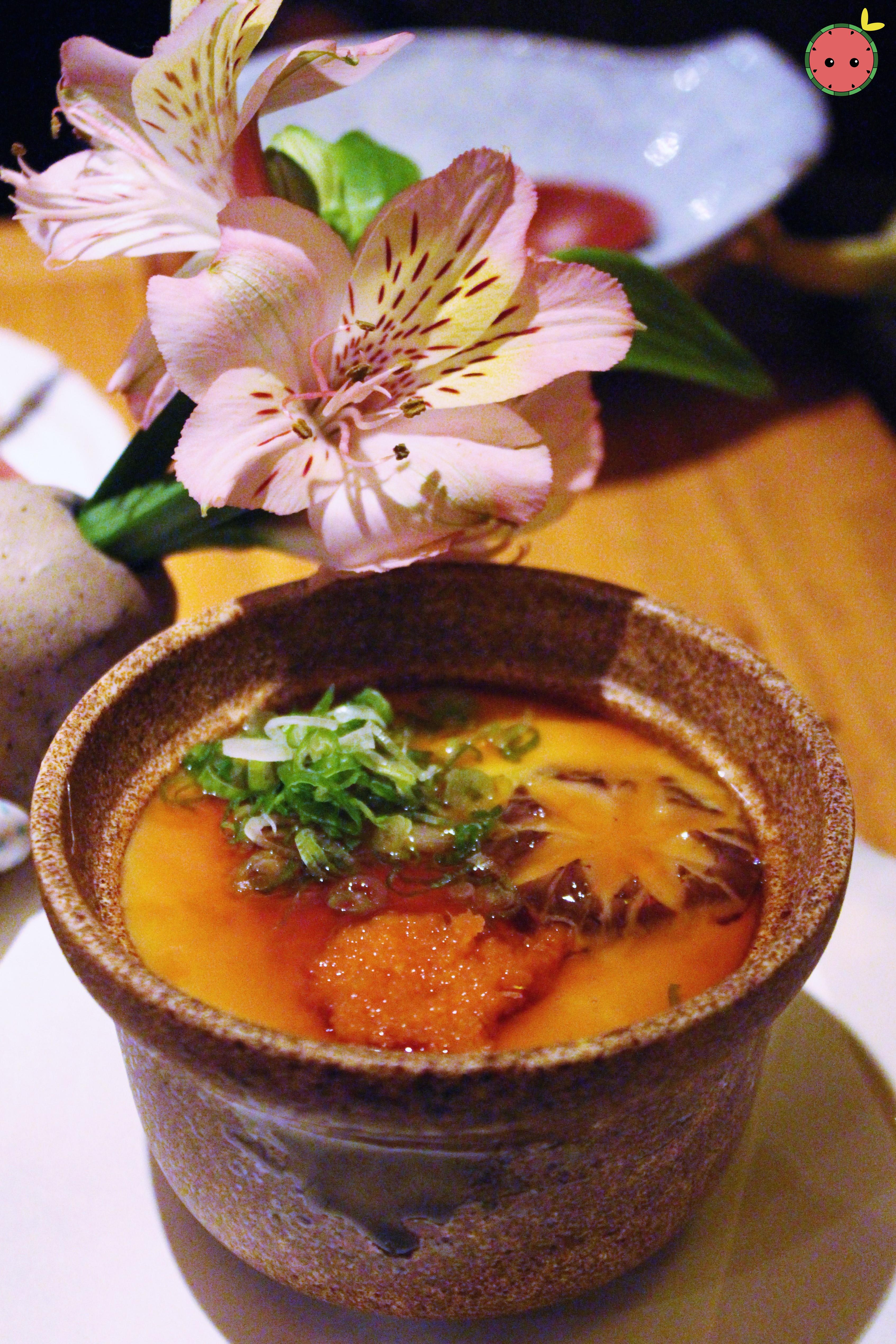 Chawanmushi - Steamed egg custard served with chicken, shrimp and gingko nuts topped with thickened