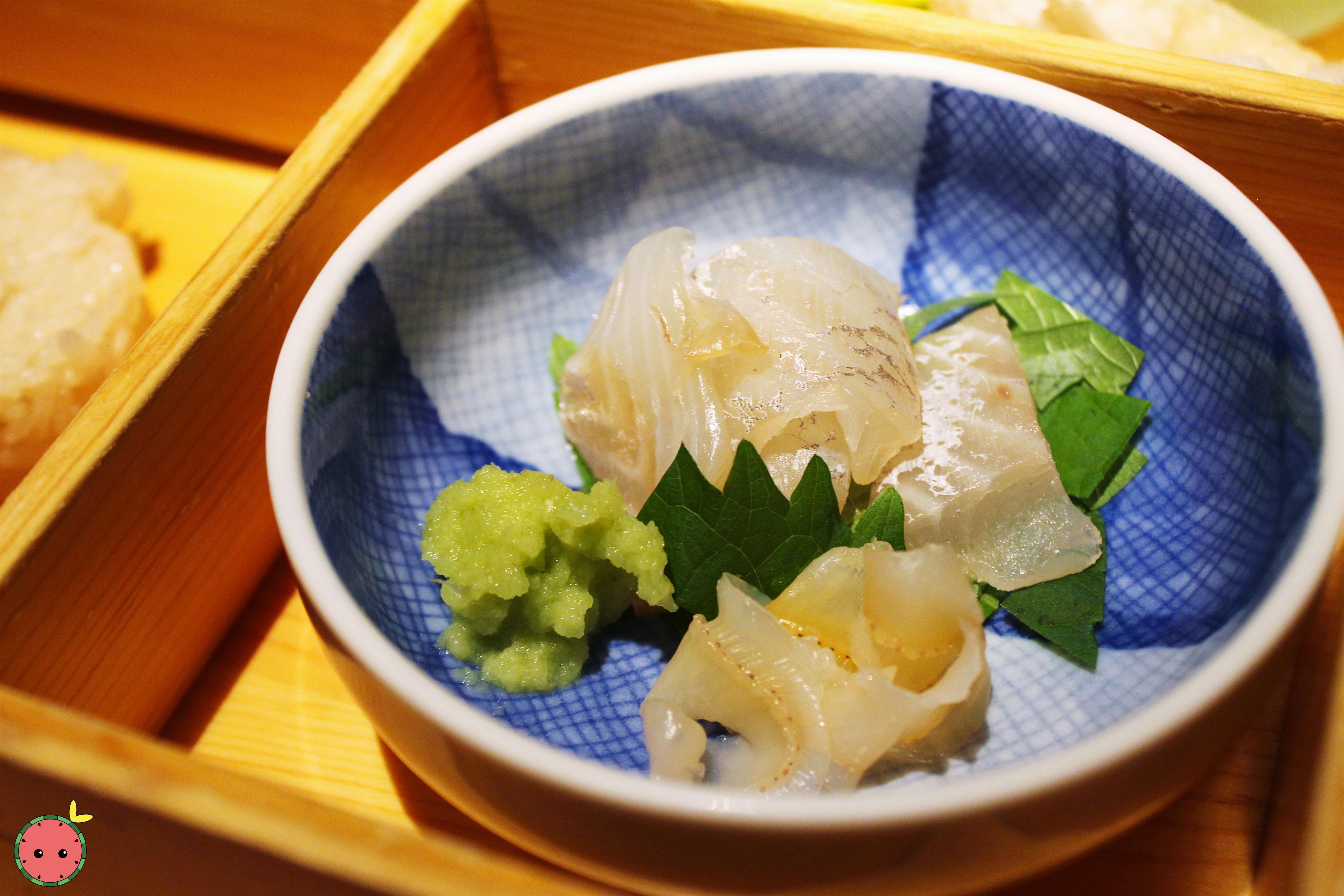 Cured yokowa (baby tuna), scallop mantle, shiso leaves, and fresh wasabi from Shizuoka