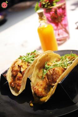 Chipotle chicken tacos, grilled jalapeño salsa