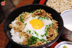 Mini Soboro Don (minced free range chicken in sweet soy sauce with poached egg served atop of rice)