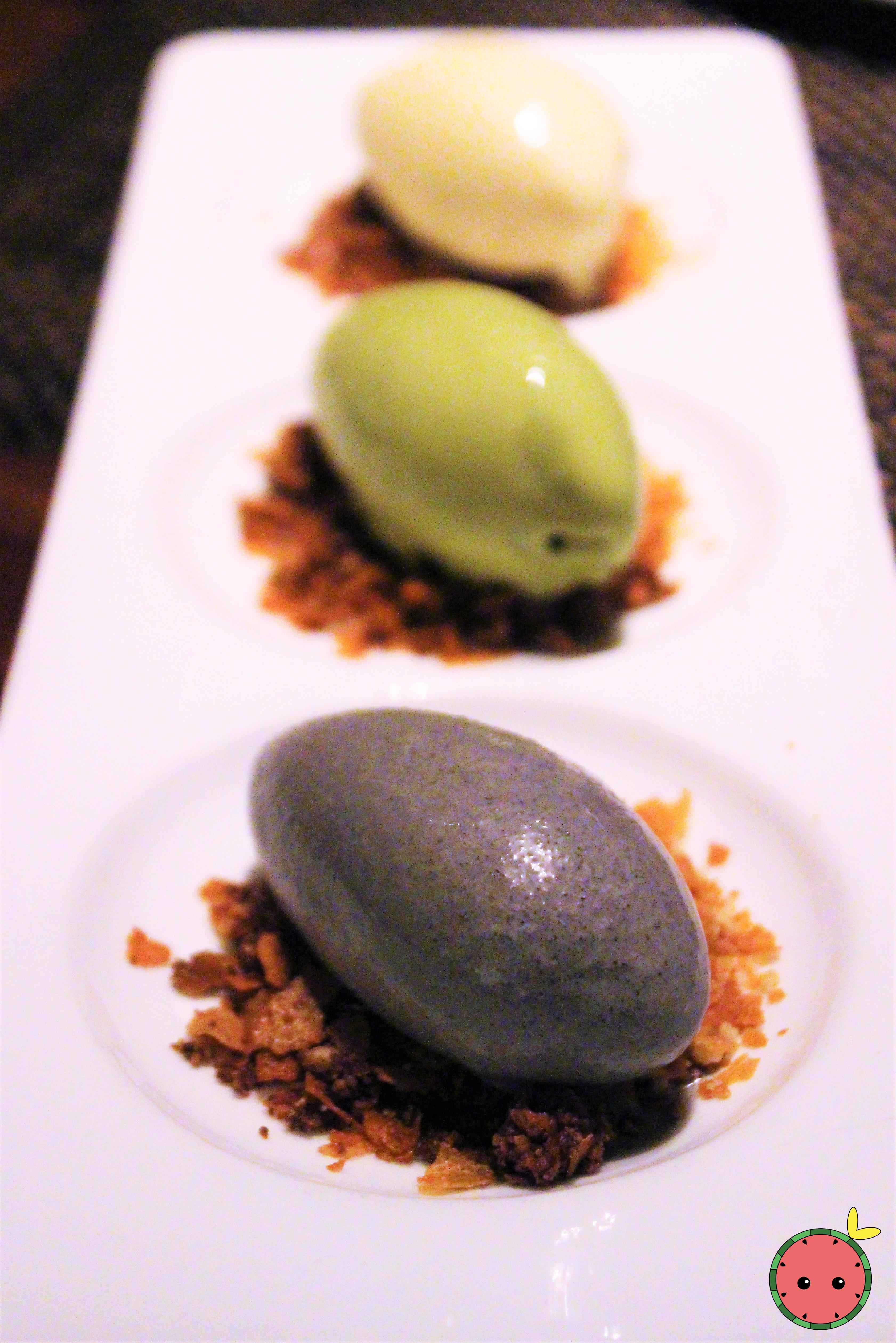 Ice Cream Trio - Black Sesame, Tahitian Vanilla, Green Tea