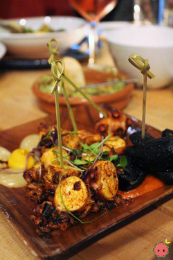 Grilled octopus, anticuchera romesco, calamari ink potatoes, botija aioli