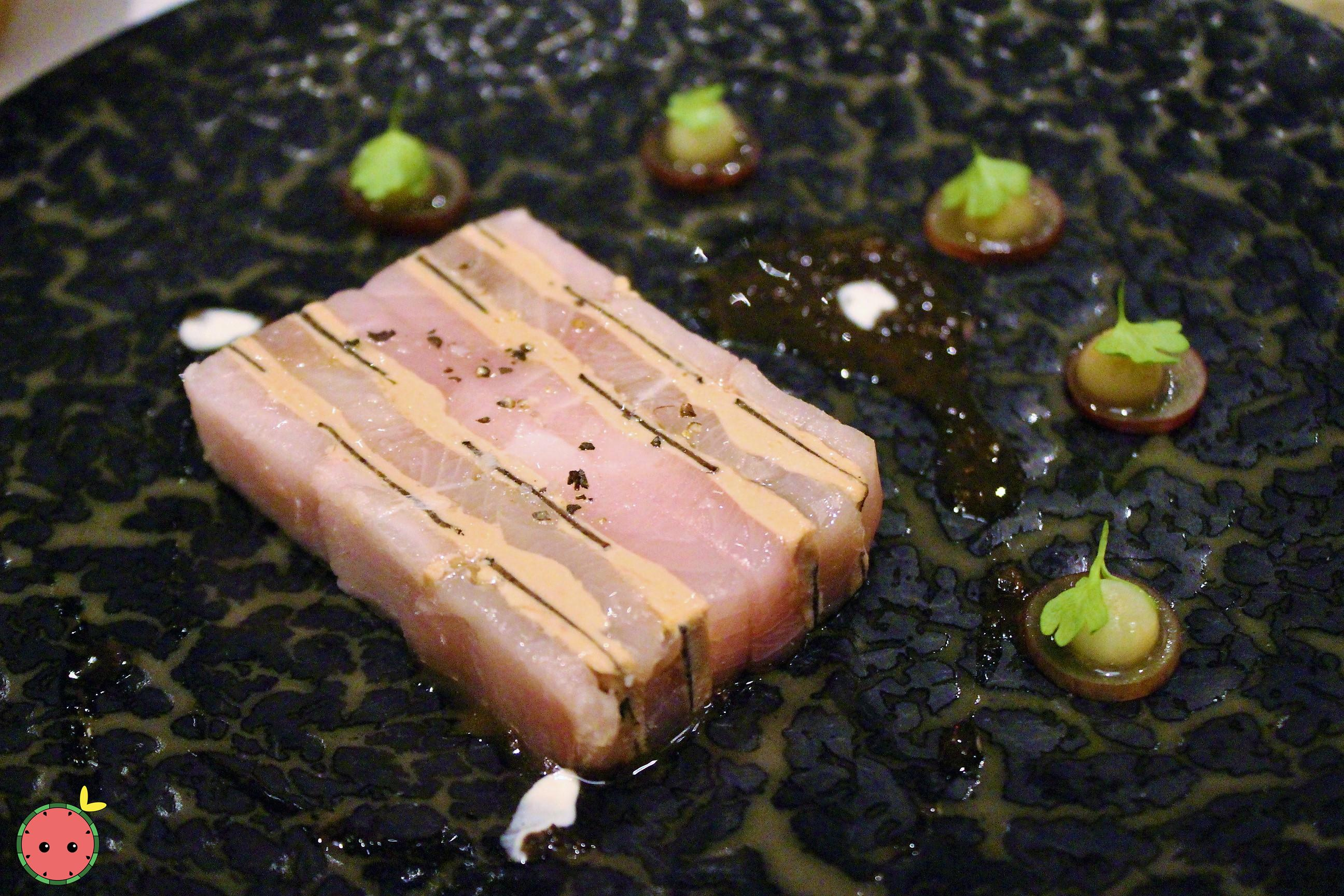 Hamachi, Black Truffle, & Foie Gras Mille-Feuille (with celery, grapes, & truffle vinaigrette)