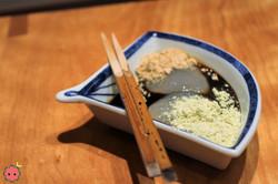 Warabi-mochi Bracken Starch Jelly covered in Kinako Toasted Soybean Flour