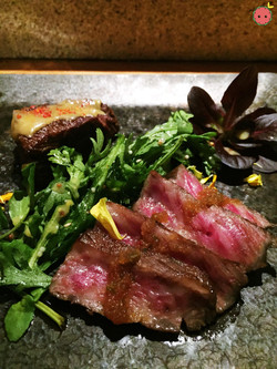 Miyazaki wagyu, hibachi-grill tataki, chiri ponzu, and stewed flat iron orange miso sauce