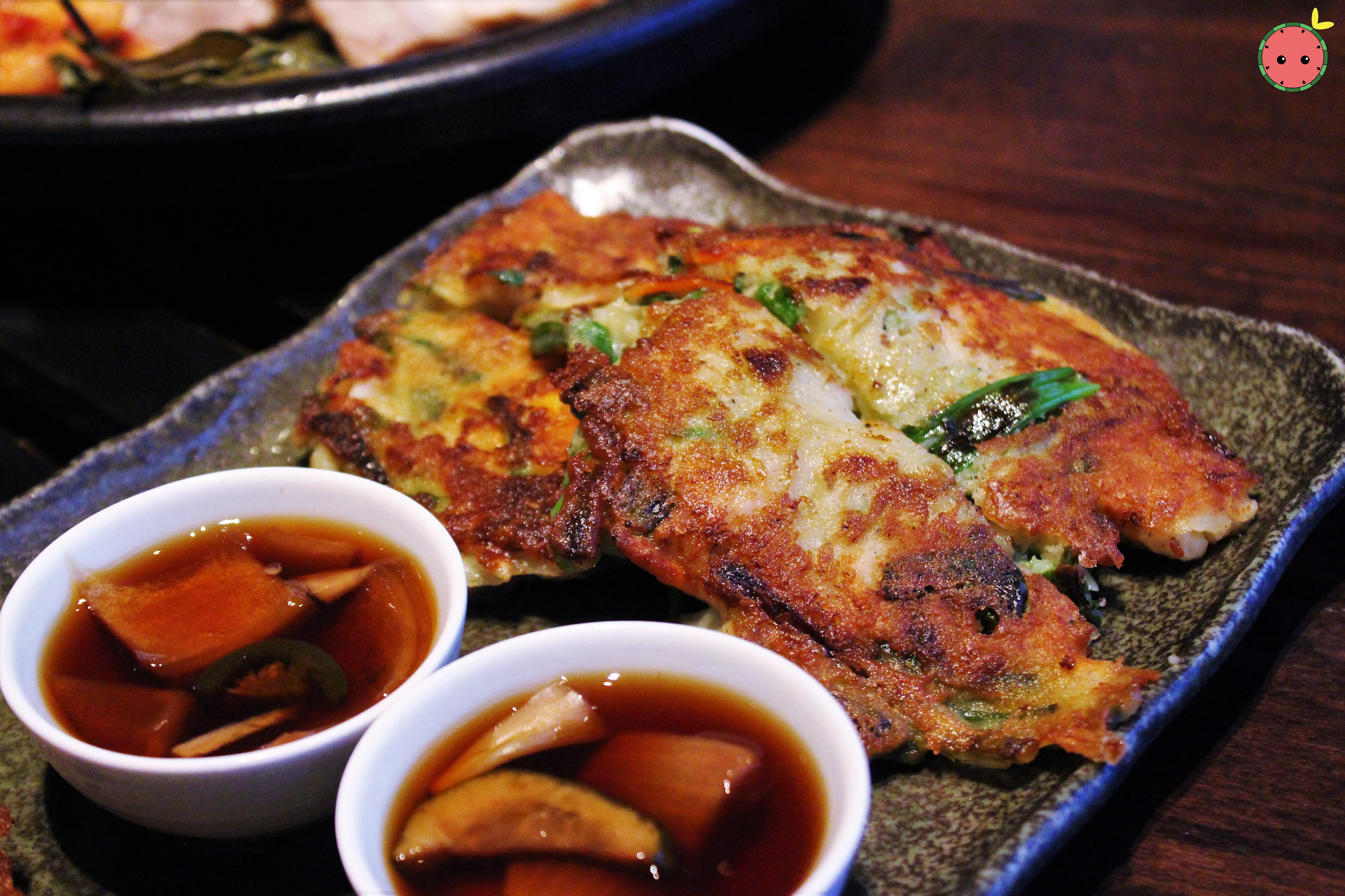 Haemul Pajun - Scallion pancake with calamari, clam, shrimp