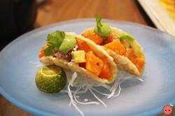 Salmon & avocado Nobu style taco