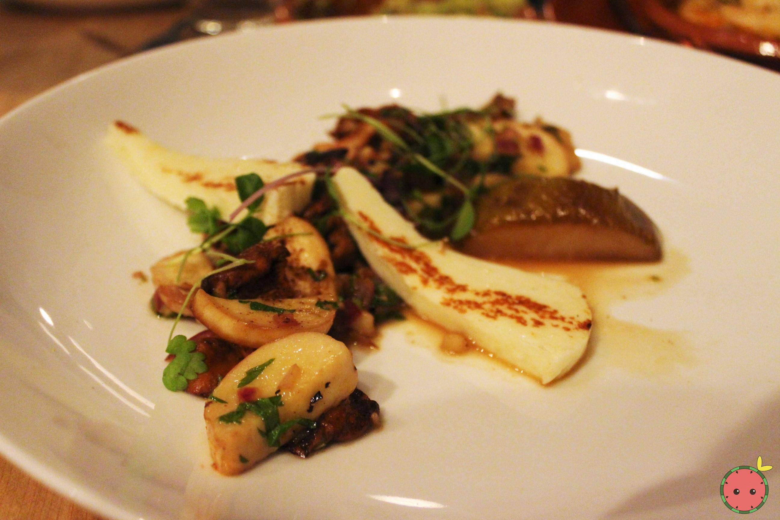 Wild mushrooms, epazote, roasted pear, chimichurri, grilled halloumi