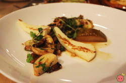Wild mushrooms, epazote, roasted pear, chimichurri, grilled halloumi