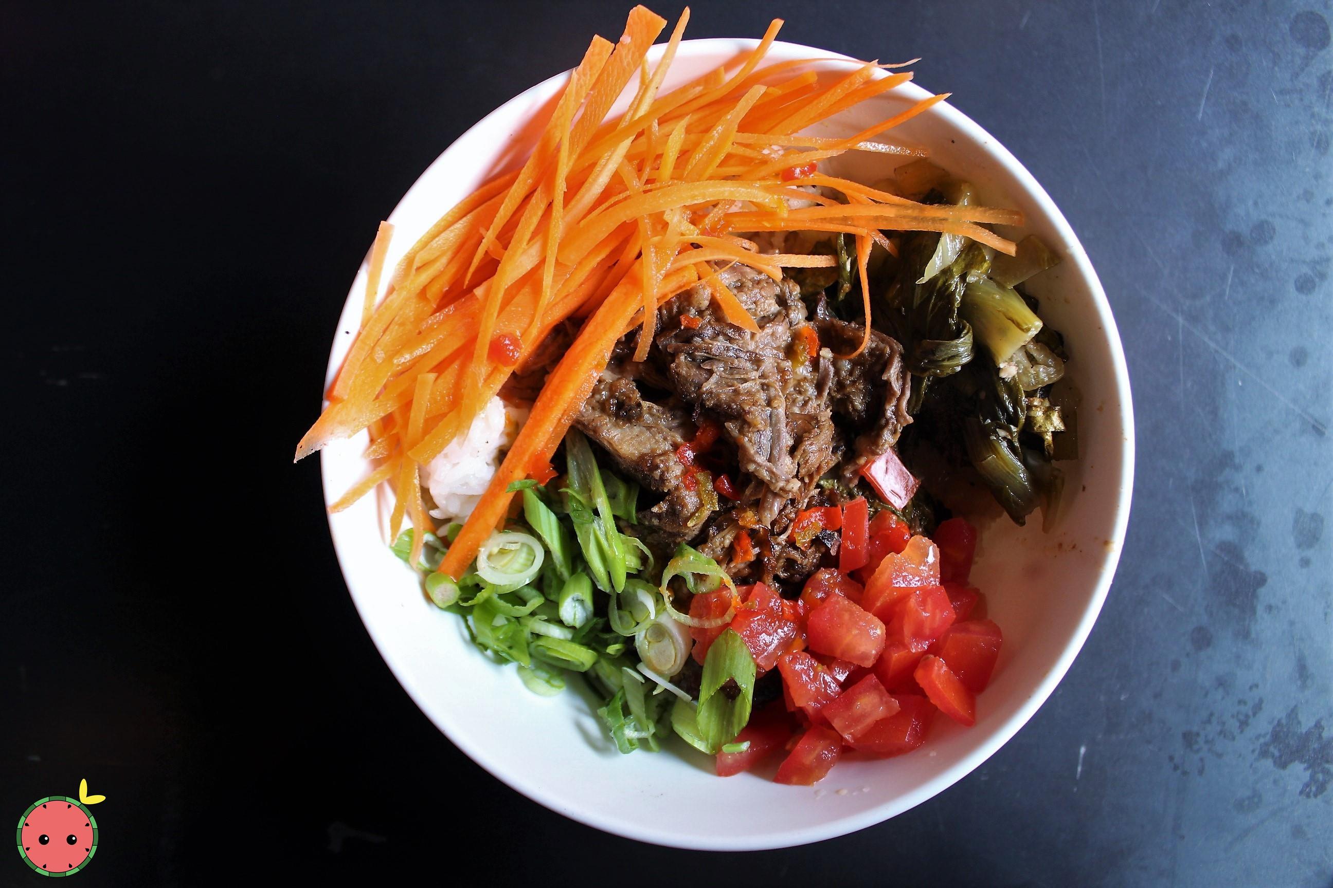 Sinigang Bowl (short rib, garlic fried rice, tomatoes, carrots, & bok choy) 2