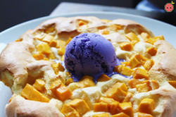 Mango Souffle Pancakes - Light as a cloud and served with ube ice cream