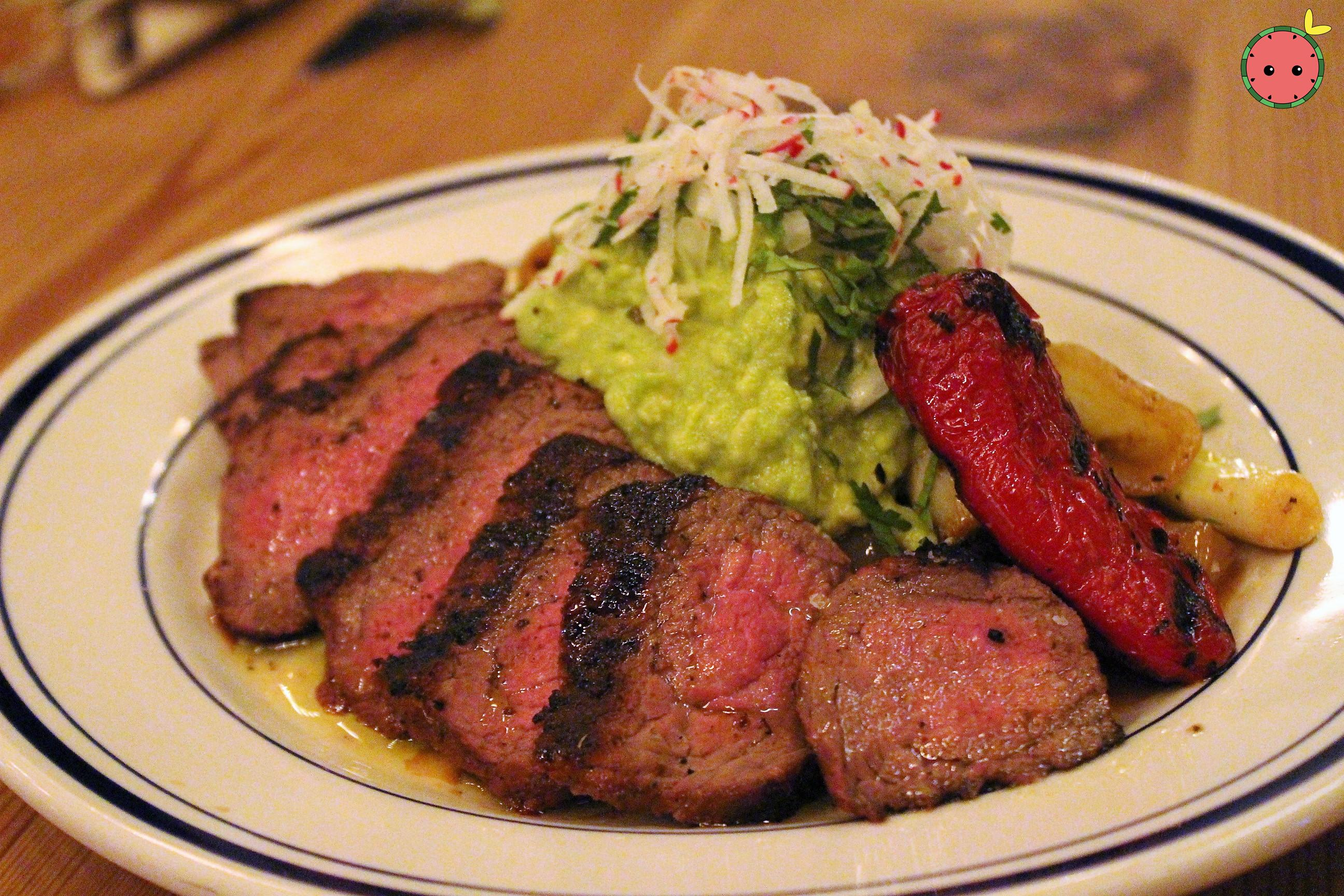 Carne Asada - Grilled marinaed wagyu sirloin steak, stewed chipotle onions, chiles toreados, guacamo